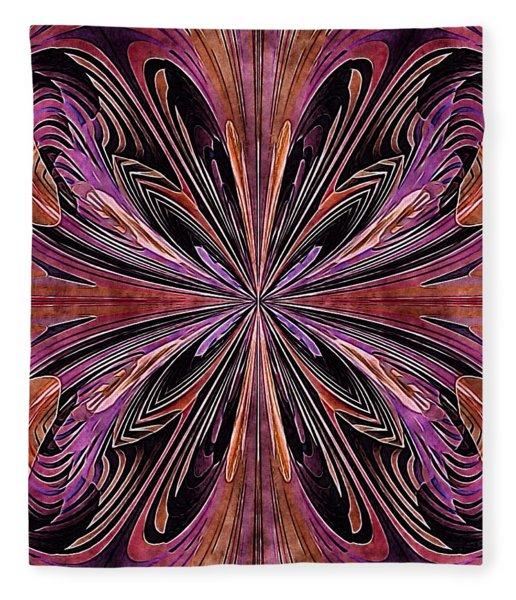 Fleece Blanket featuring the digital art Butterfly Art Nouveau by Susan Maxwell Schmidt