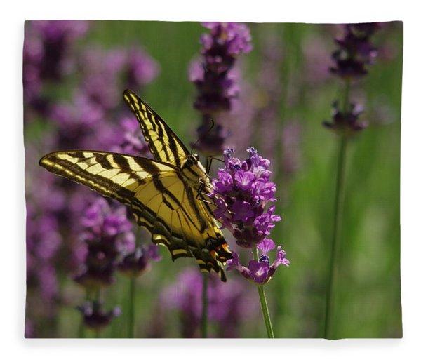 Butterfly In Lavender Fleece Blanket