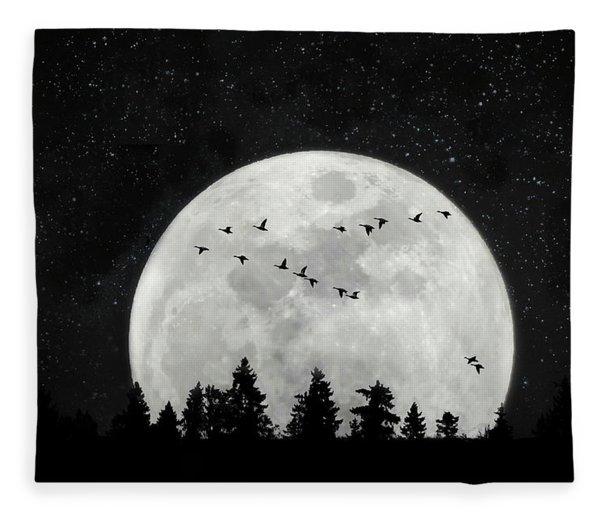 By The Light Of The Silvery Moon - Birds  Fleece Blanket