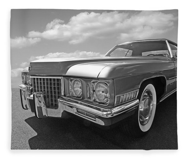 Cadillac Coupe De Ville 1971 In Black And White Fleece Blanket