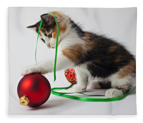 Calico Kitten And Christmas Ornaments Fleece Blanket