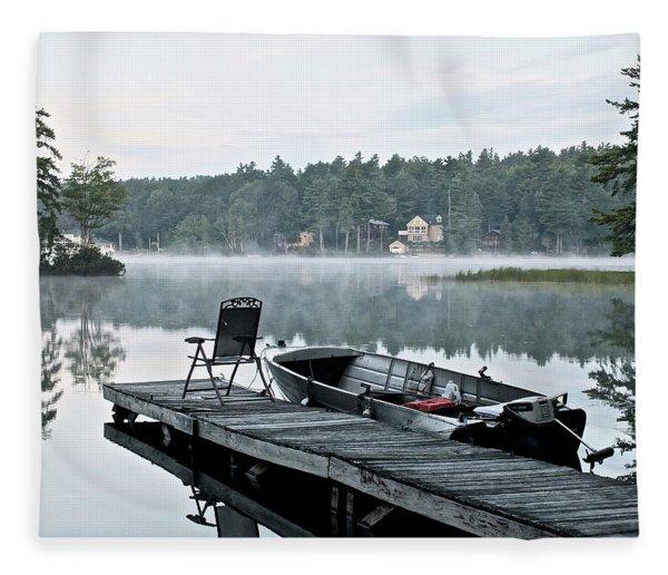 Calm Morning On Little Sebago Lake Fleece Blanket