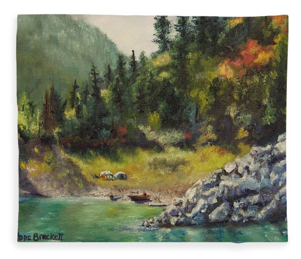Camping On The Lake Shore Fleece Blanket