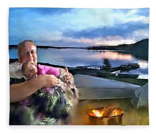 Camping With Grandpa Fleece Blanket