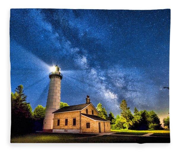 Cana Island Lighthouse Milky Way In Door County Wisconsin Fleece Blanket