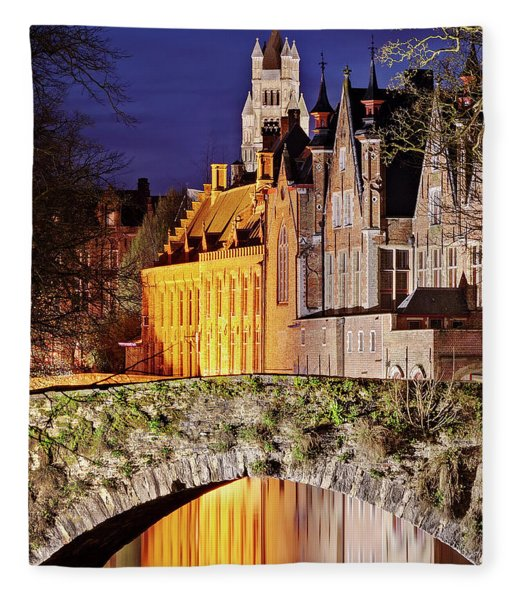 Fleece Blanket featuring the photograph Canal Bridge At Night - Bruges by Barry O Carroll