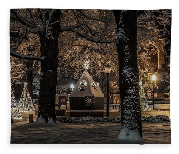 Canopy Of Christmas Lights Fleece Blanket