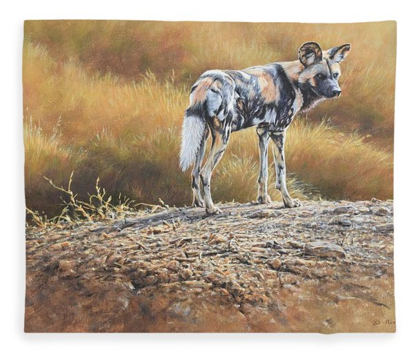Fleece Blanket featuring the painting Cape Hunting Dog by Alan M Hunt