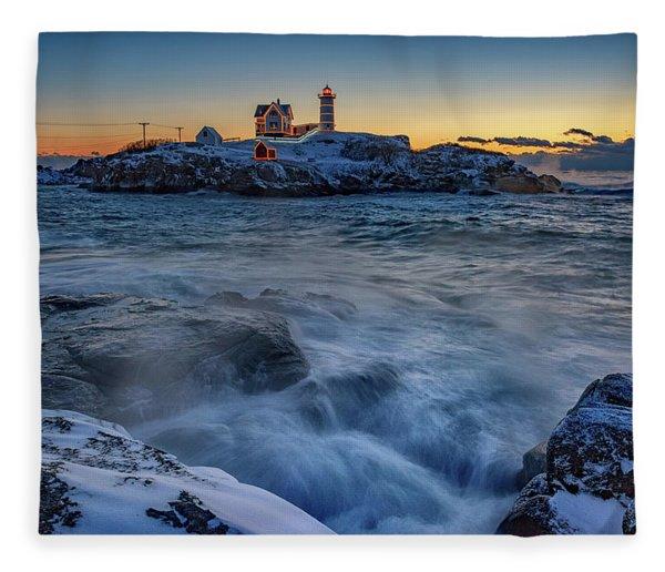 Cape Neddick In The Cold Fleece Blanket