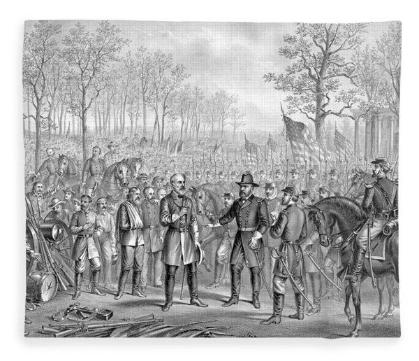 Capitulation And Surrender Of Robert E Lee Fleece Blanket