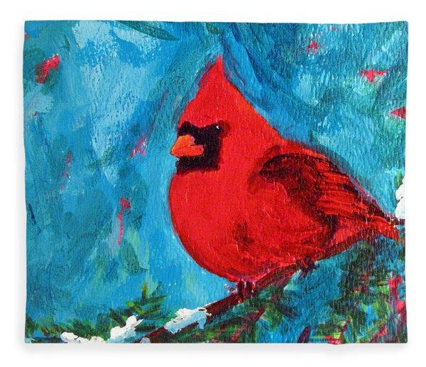 Cardinal Red Bird Watercolor Modern Art Fleece Blanket