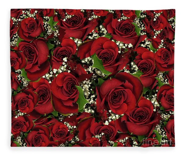 Carmine Roses Fleece Blanket