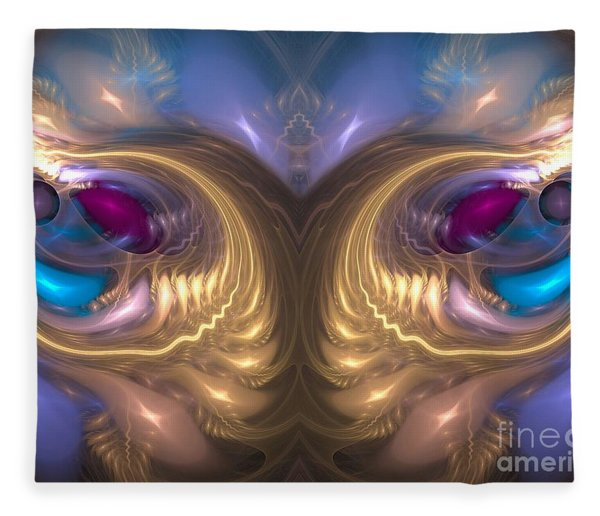 Fleece Blanket featuring the digital art Catharsis - Abstract Art by Sipo Liimatainen