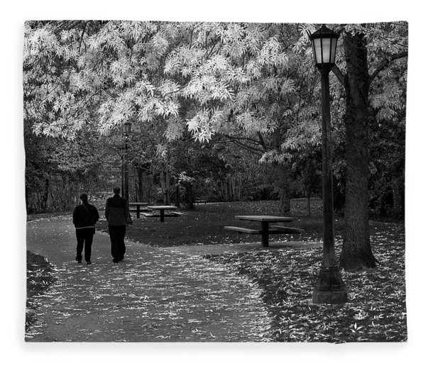 Cathedral Park In Fall Bw Fleece Blanket