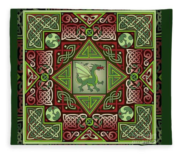 Celtic Dragon Labyrinth Fleece Blanket