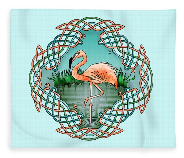 Celtic Flamingo Art Fleece Blanket