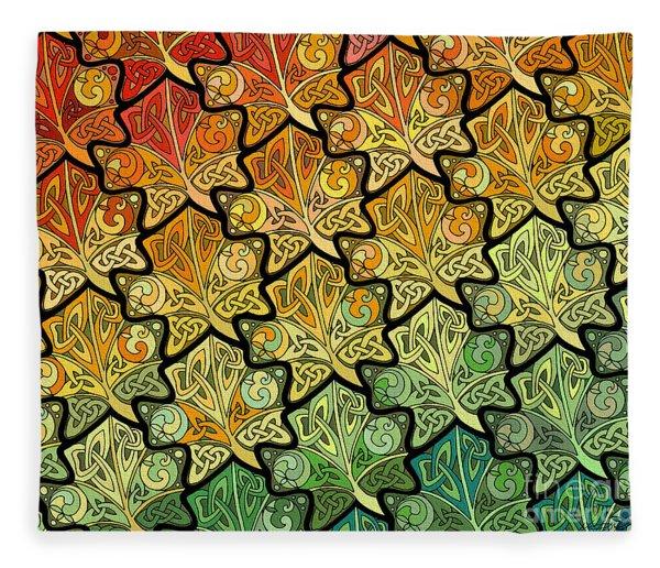Celtic Leaf Transformation Fleece Blanket