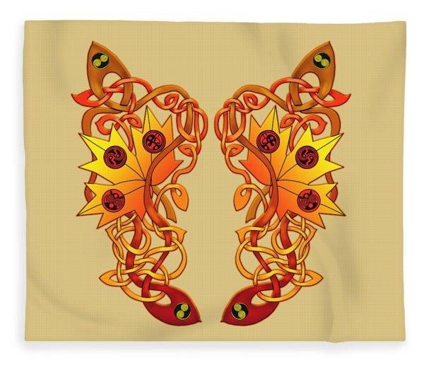 Celtic Loose Leaves Fleece Blanket