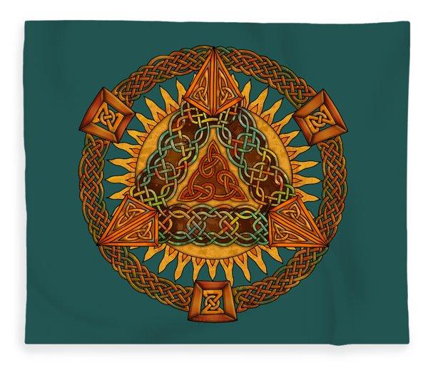 Celtic Pyramid Mandala Fleece Blanket