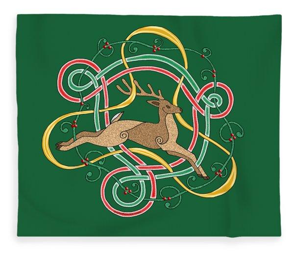 Celtic Reindeer Knots Fleece Blanket