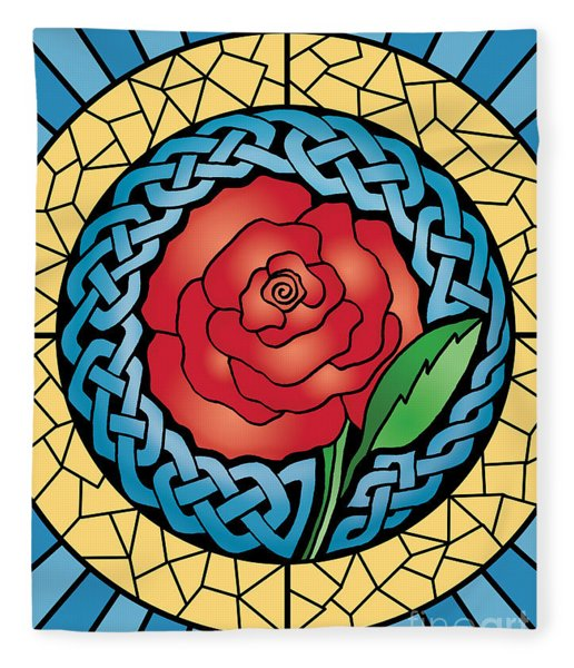 Celtic Rose Stained Glass Fleece Blanket