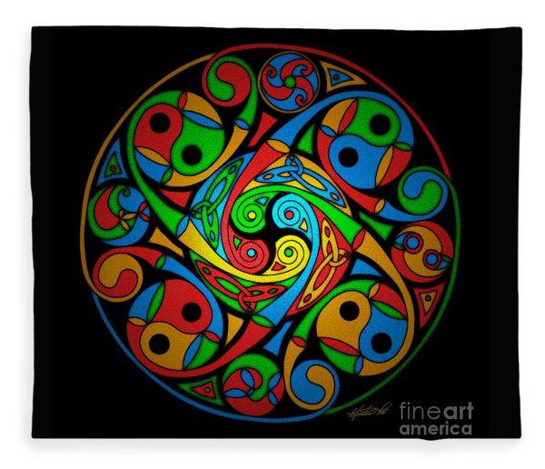 Celtic Stained Glass Spiral Fleece Blanket