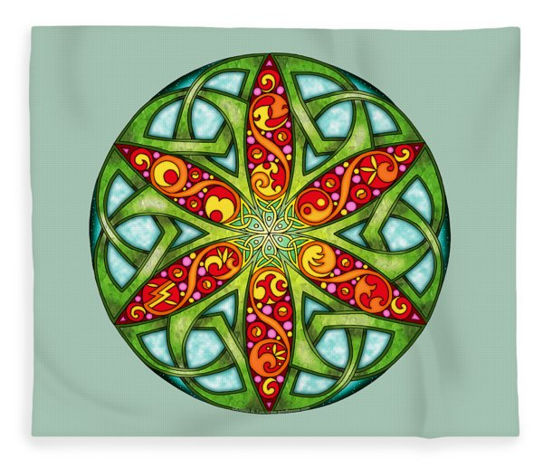 Celtic Summer Mandala Fleece Blanket