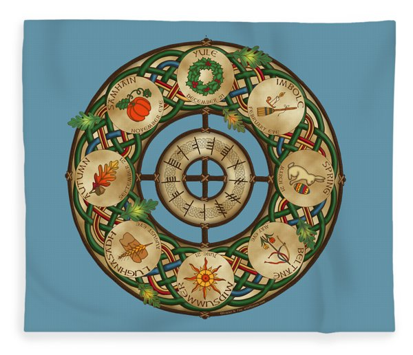 Celtic Wheel Of The Year Fleece Blanket