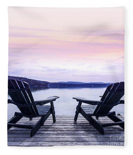 Chairs On Lake Dock Fleece Blanket