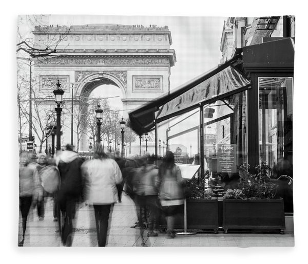 Fleece Blanket featuring the photograph Champs Elysees And Arc Triomphe - Paris by Barry O Carroll