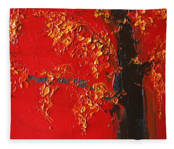Cherry Blossom Tree - Red Yellow Fleece Blanket