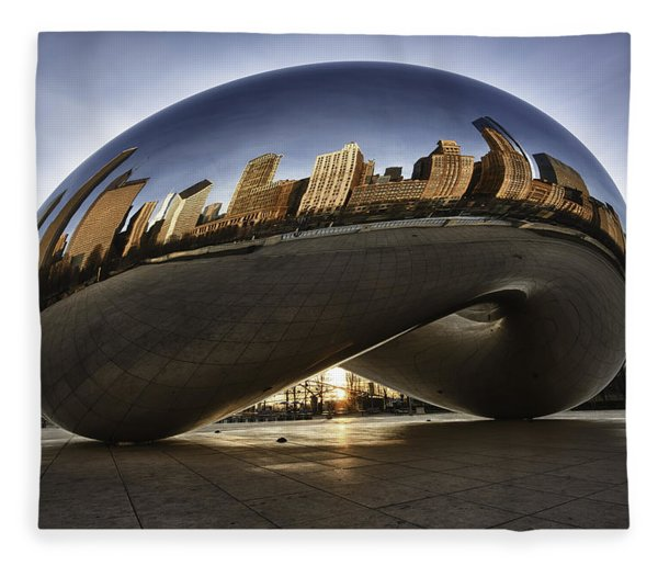 Chicago Cloud Gate At Sunrise Fleece Blanket