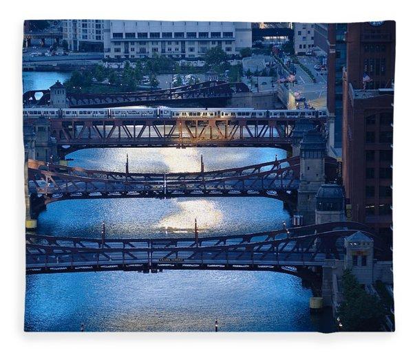 Chicago River First Light Fleece Blanket