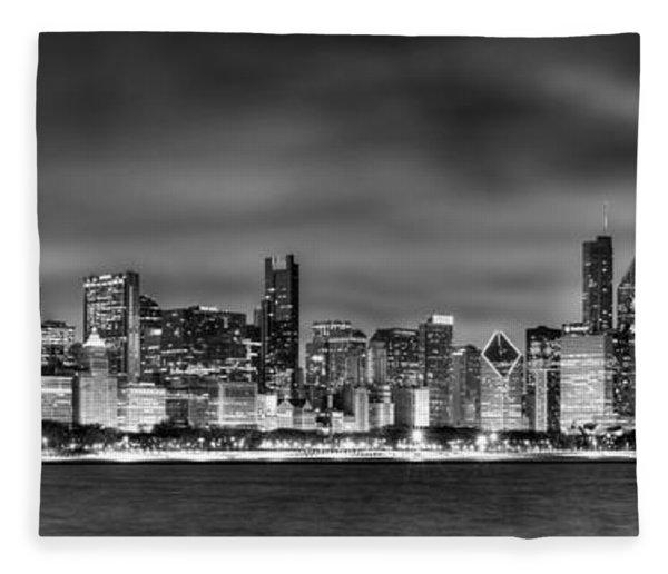 Chicago Skyline At Night Black And White Fleece Blanket