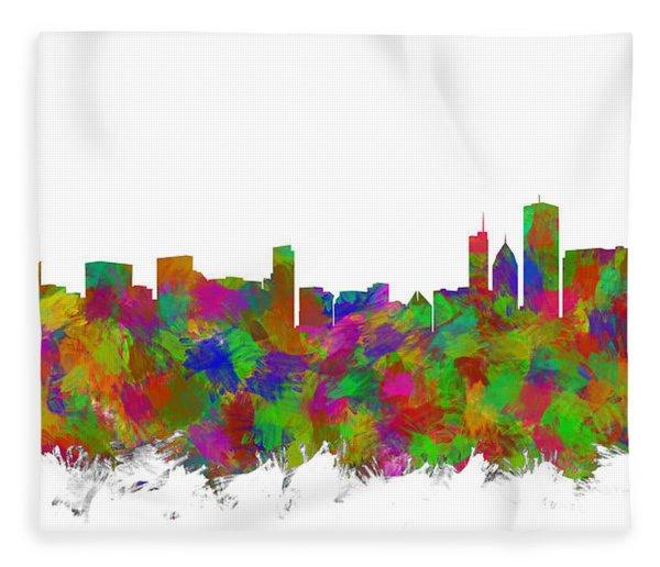 Chicago Skyline Silhouette I Fleece Blanket