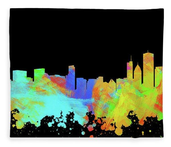 Chicago Skyline Silhouette Iv Fleece Blanket