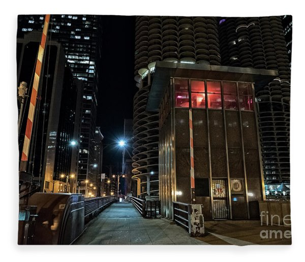 Chicago Urban Vintage River Drawbridge With Tender House At Night Fleece Blanket