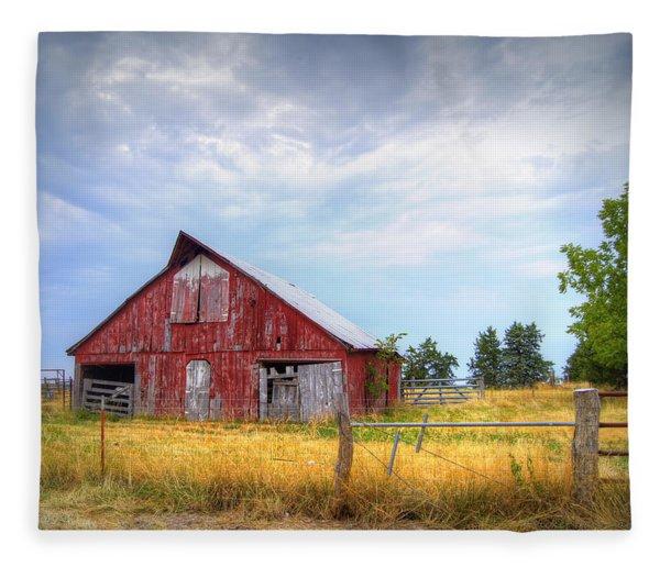 Christian School Road Barn Fleece Blanket