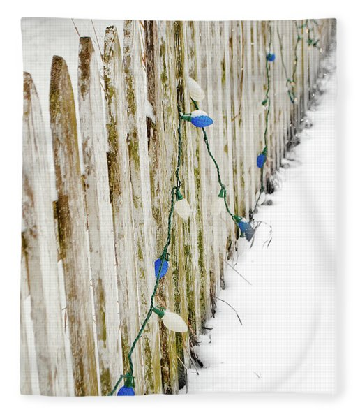 Christmas Fence Fleece Blanket