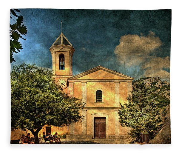 Church In Peillon Fleece Blanket