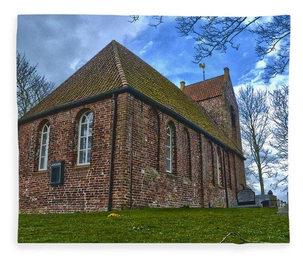 Church On The Mound Of Oostum Fleece Blanket