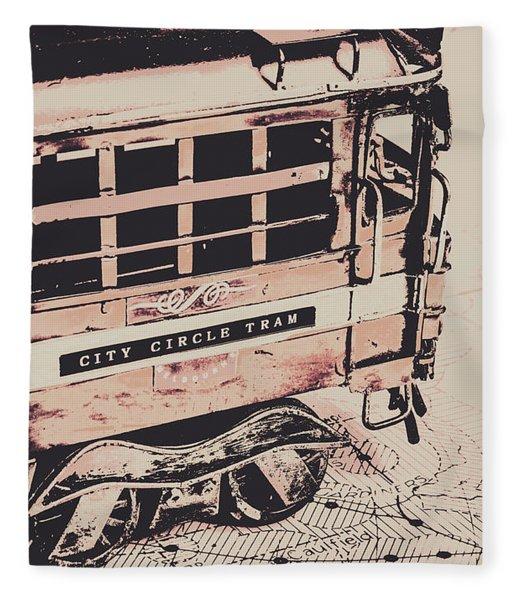 City Circle Street Artwork Fleece Blanket