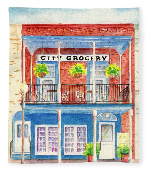 City Grocery Oxford Mississippi  Fleece Blanket