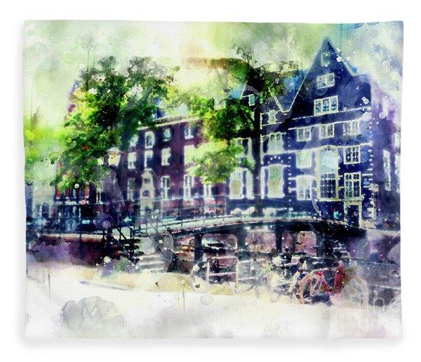 city life in watercolor style - Old Amsterdam  Fleece Blanket