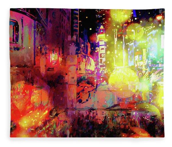 Fleece Blanket featuring the digital art City Nights by Matt Lindley