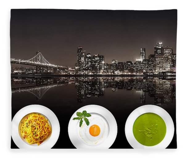 Fleece Blanket featuring the digital art City Of Cultural Cuisines by ISAW Company