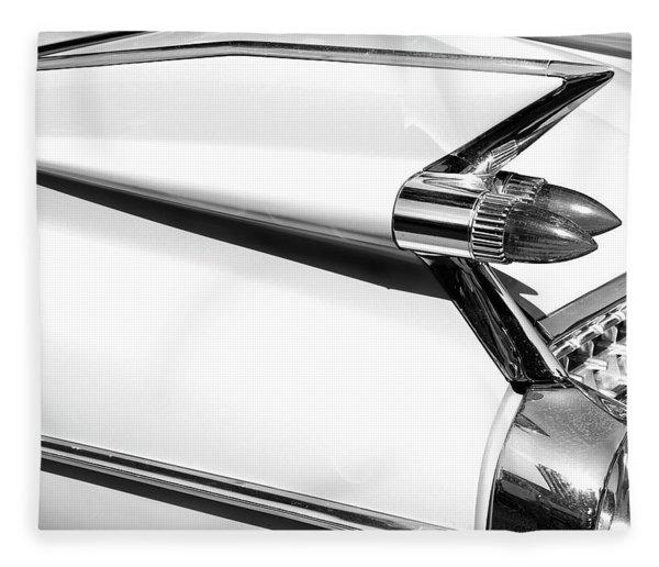 Classic Car Tail Fins Black White Fleece Blanket