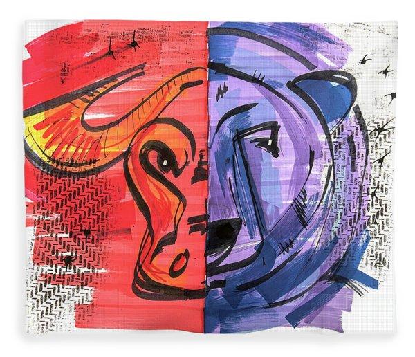 Clip Art Of Bear And Bull Of Stock Market Fleece Blanket