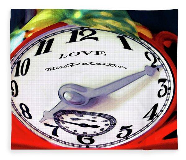 Clock In The Garden Painting 2 Fleece Blanket