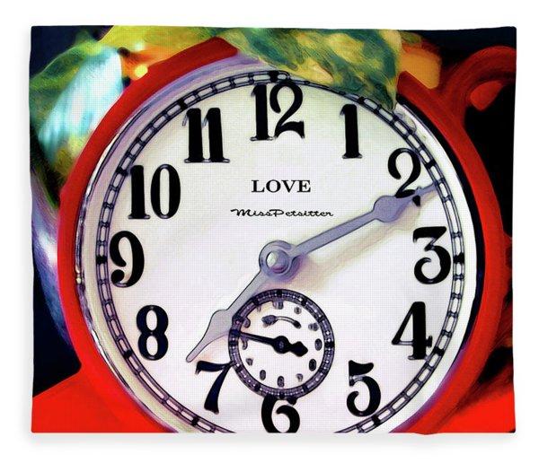 Clock In The Garden  4 Fleece Blanket